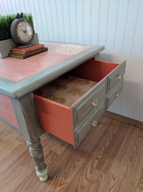 Peach and Gray End Table with Drawer