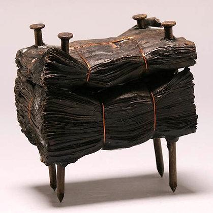"""Kate Hunt   Black Block #3   Newspaper, Steel, Burnt Wax   6x6x4"""""""