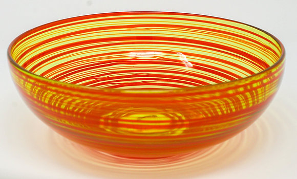 Olive Green, Red Ribbon Bowl | Hot Glass | 3x8