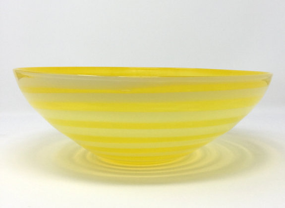 Canary Yellow Spiral Wrap Bowl | Hot Glass | 11x4