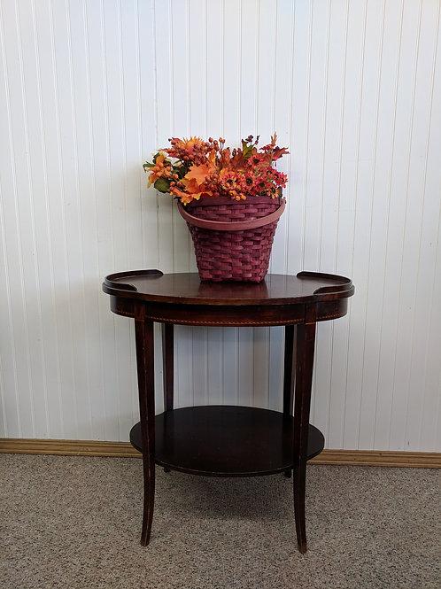 Oval End Table w| Bottom Shelf