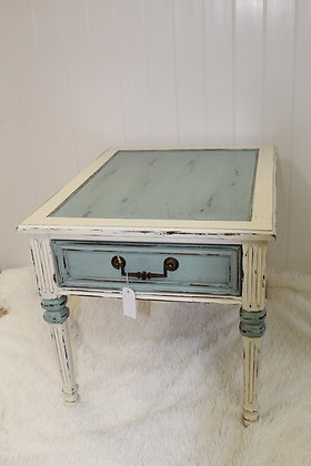 Blue & White End Table
