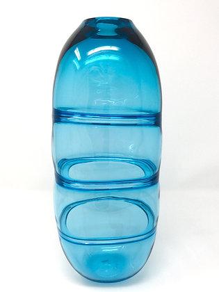 Geometric Segmented Vessel | Turquoise | Hot Glass | 12x4.25