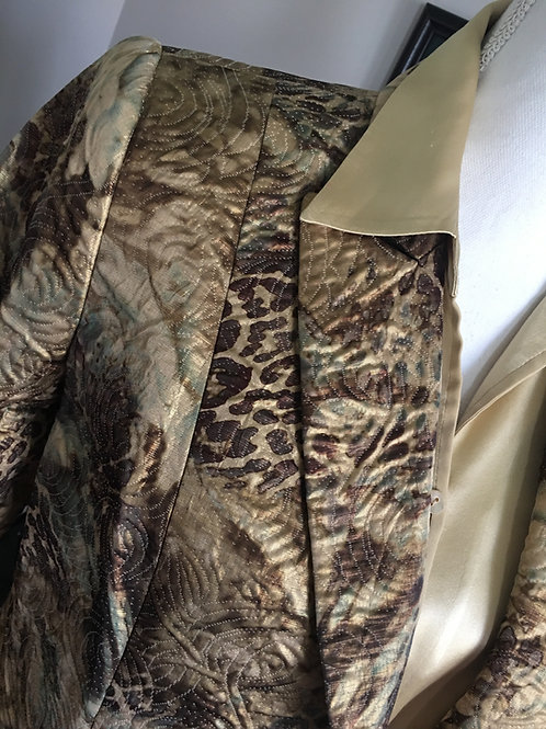 GOLD & BROWN EMBOSSED BROCADE BLAZER