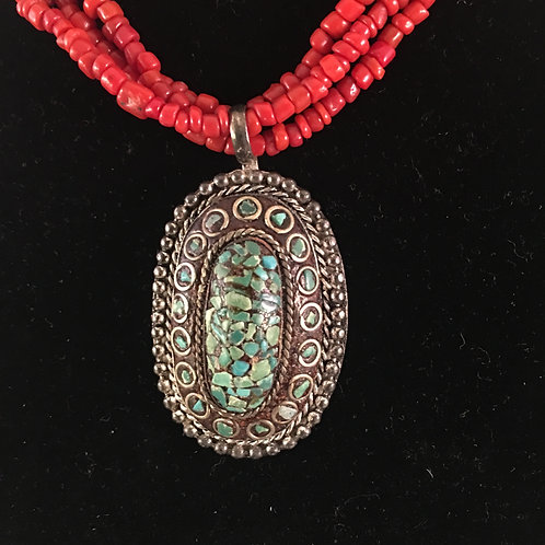 RED BEAD NECKLACE w/SILVER/TURQUOISE PENDANT