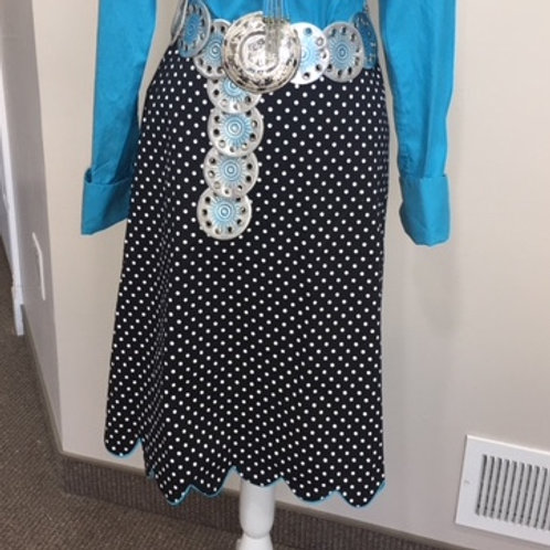 POLKA-DOT SKIRT -- BLACK/WHITE W/TURUOISE ACCENT