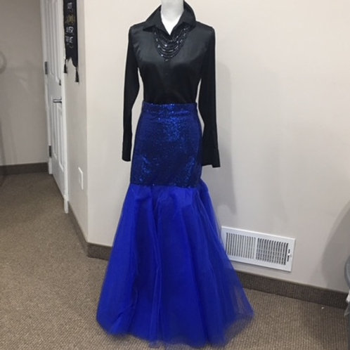 ROYAL BLUE SEQUIN/NETTING MERMAID SKIRT - NEVER WORN