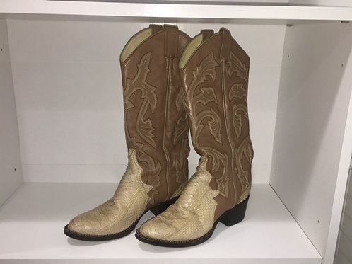 LARRY MAHAN CREAM/TAN SNAKE BOOTS