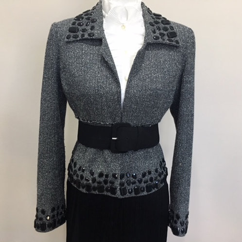 BLACK/WHITE TWEED BLAZER W/JEWEL ACCENTS
