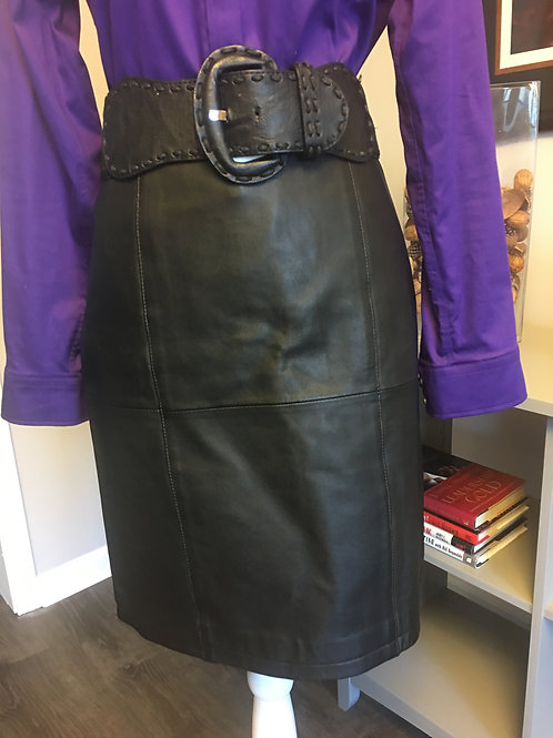 BLACK COLDWATER CREEK LEATHER SKIRT