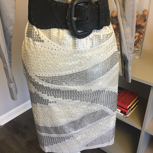 SILVER/GRAY SEQUIN PENCIL SKIRT