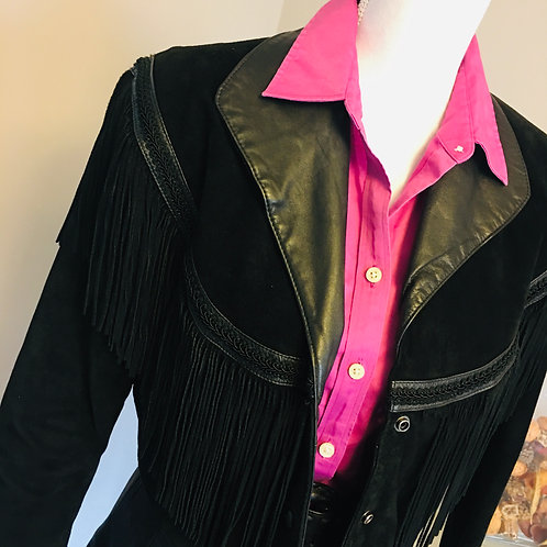 BLACK SUEDE/LEATHER FRINGE CROP JACKET
