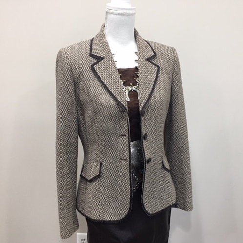 CLASSIC WESTERN BROWN/CREAM TWEED FITTED BLAZER