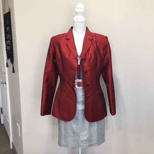 RED SILK BLAZER - CUSTOM DETAILS