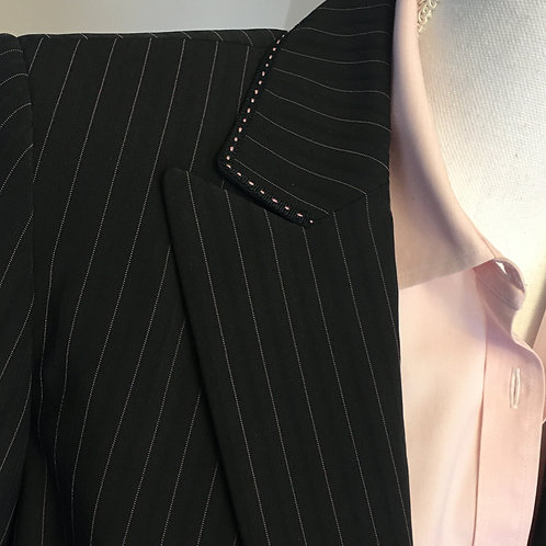 CLASSIC CHARCOAL BLAZER W/PASTEL PINK ACCENTS