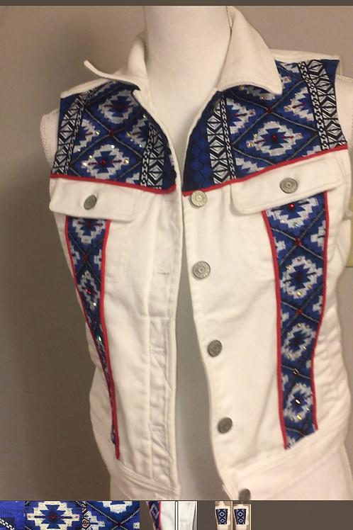 White Denim Vest Embellished and Stoned by Custom Revivals