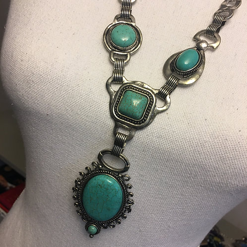SILVER/TURQUOISE LONG NECKLACE
