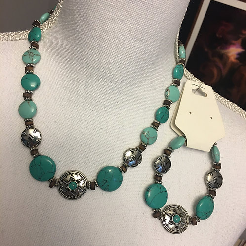 SILVER/TURQUOISE BEAD NECKLACE & BRACELET