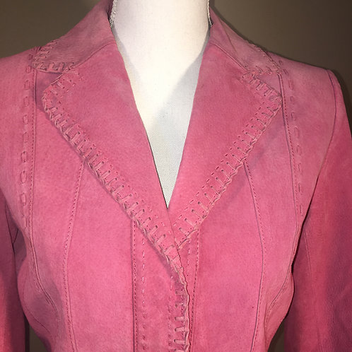 PINK SUEDE LEATHER JACKET W/BUCK STITCHING