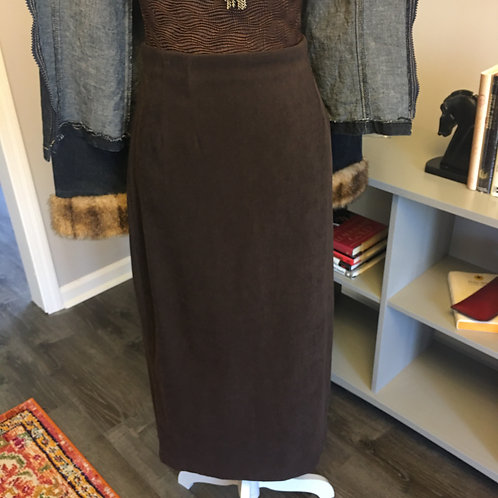 CHOCOLATE SUEDE-LIKE PENCIL SKIRT