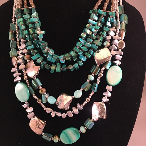 TWO NECKLACE SET -- TEAL MULTI-STRAND and SILVER TONE/TEAL