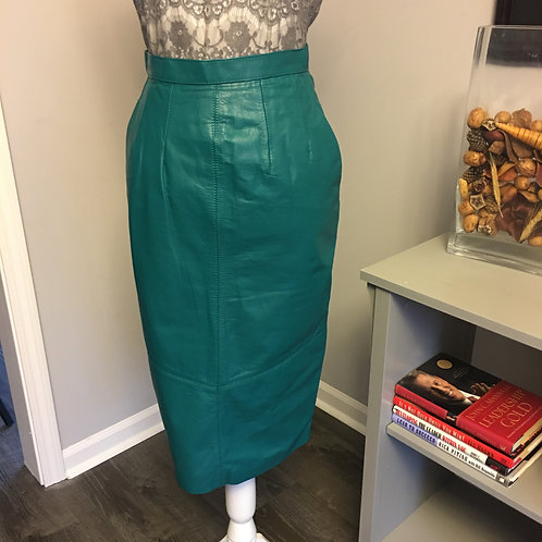TEAL GREEN LEATHER PENCIL SKIRT