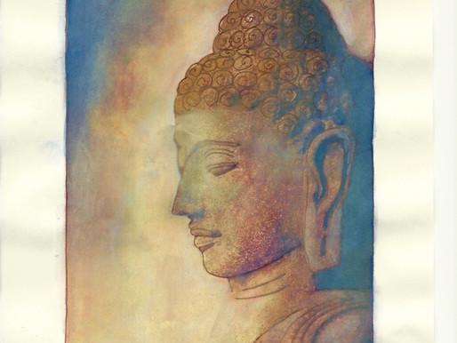 Oude stille boeddha