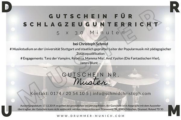 Gutschein Schlagzeugunterricht in München für Weihnachten