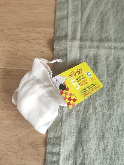 LOT DE 5 sacs à thé en tissu