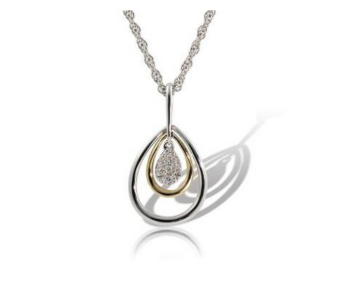 14k Two-Tone Diamond Pendant