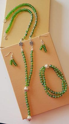 סט תכשיטים- פרח ירוק