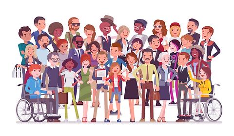 Ilustración con diversidad de personas