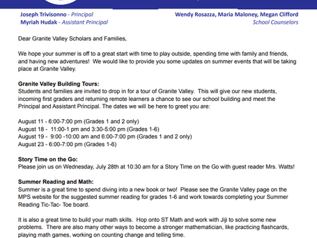 Dear Granite Valley Scholars and Families,