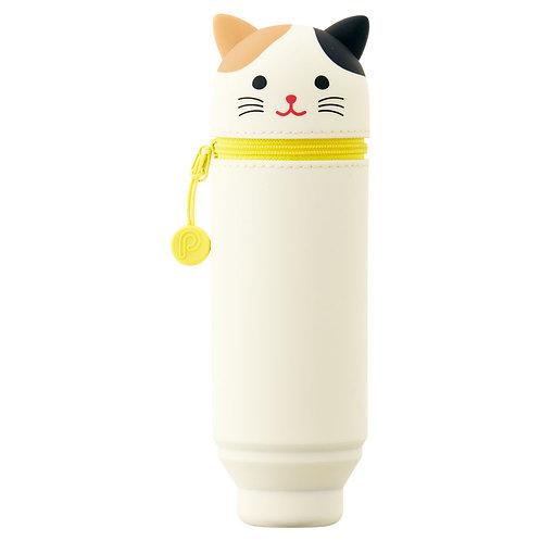 Пенал тубус малый - Белый котик, вместимость 15 карандашей