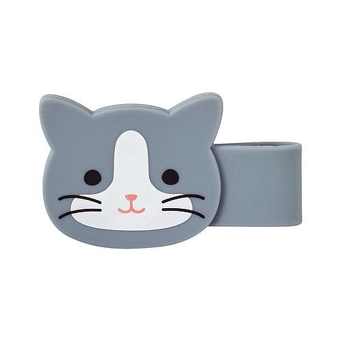 Магнитная клипса-зажим - Серый котик