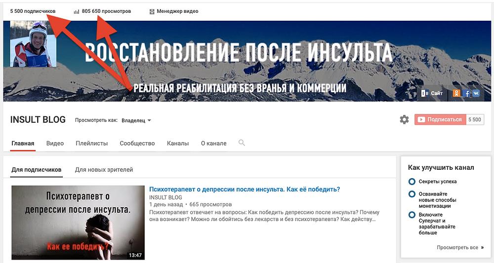 Инсульт Блог 5500 подписчиков 800000 просмотров