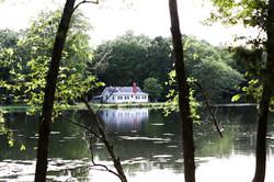 Beautiful lake and house at a Charlotte wedding