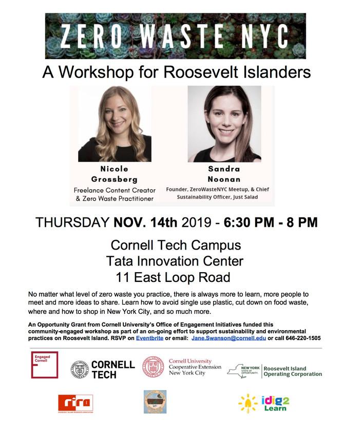 Engaged Roosevelt Island Kick-Offs with Zero Waste Workshop