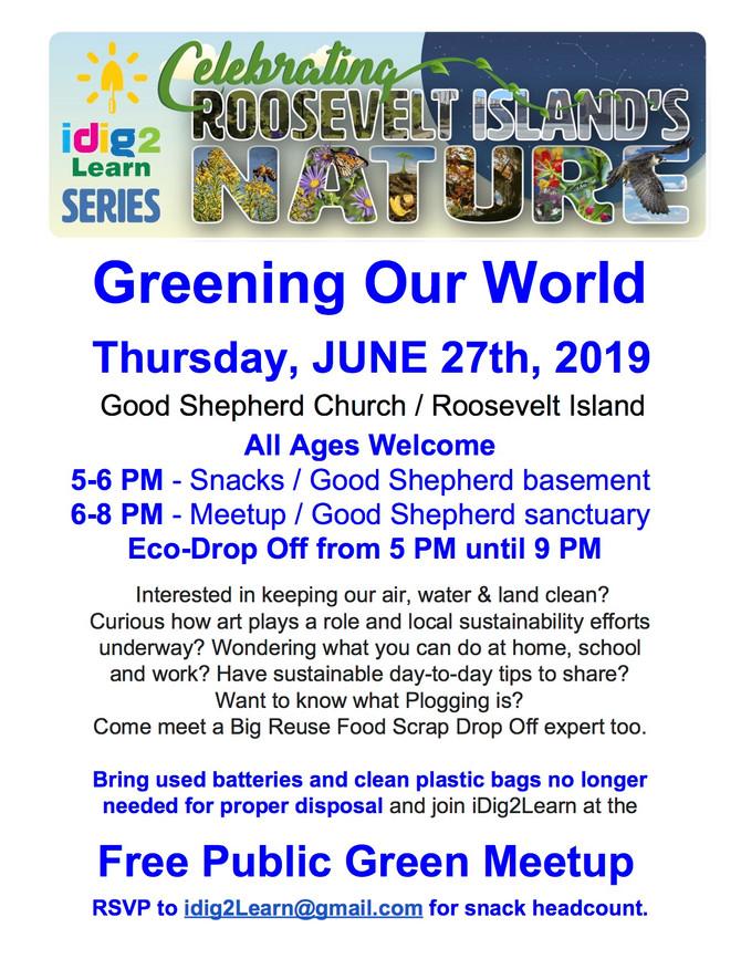 6/27 Free Roosevelt Island Green Meetup