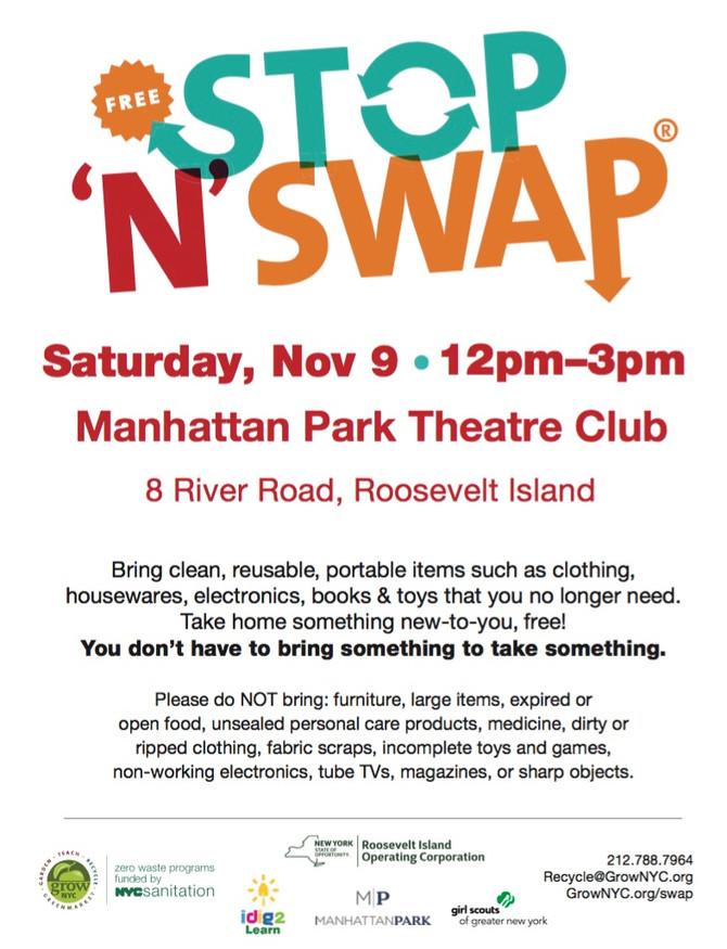 Free Roosevelt Island Stop N' Swap 11/9