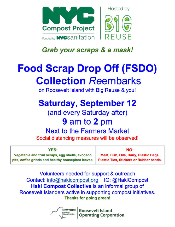 The Wait is Nearly Over! Thanks Big Reuse & RIOC! Island Food Scrap Drop-Off returns on SAT 9/12
