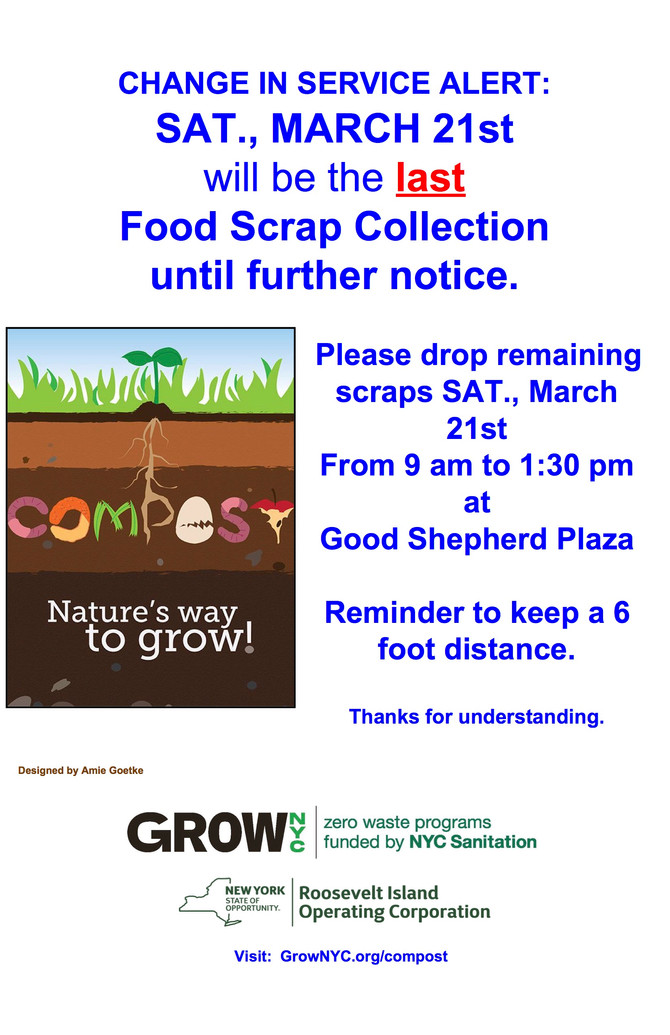 Alert:  March 21st Last Food Scrap collection until further notice