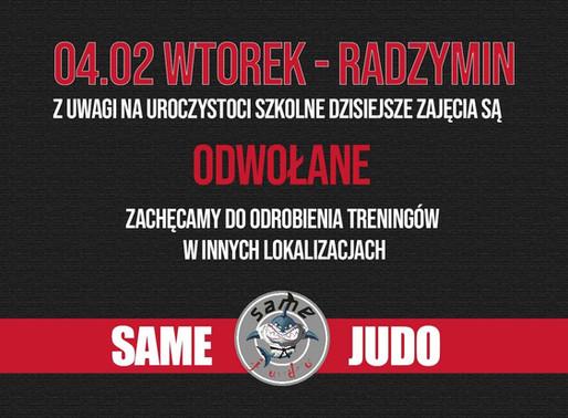 Radzymin 4.02 - ZAJĘCIA ODWOŁANE