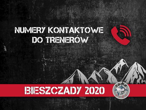 KONTAKT DO TRENERÓW / BIESZCZADY'20