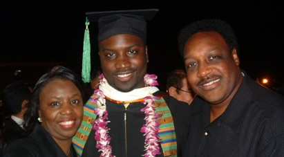 J.Michael O'Neal with his parents Dr. James M. & Saundra O'Neal celebrating the completion of his undergraduate degree from the University of LaVerne.