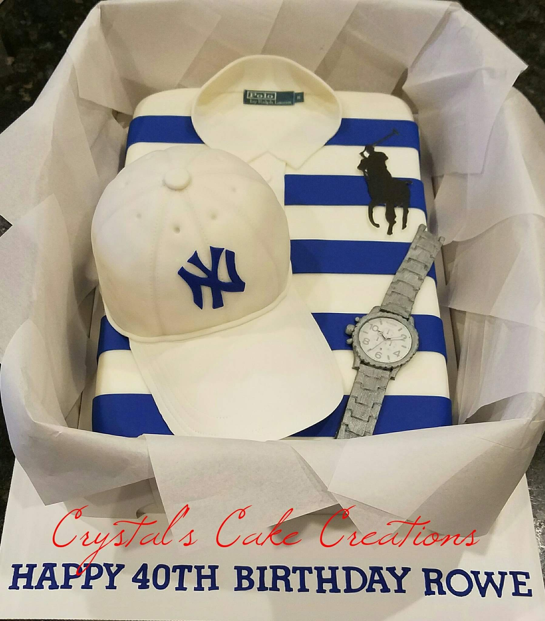 Polo cake with NY hat and watch