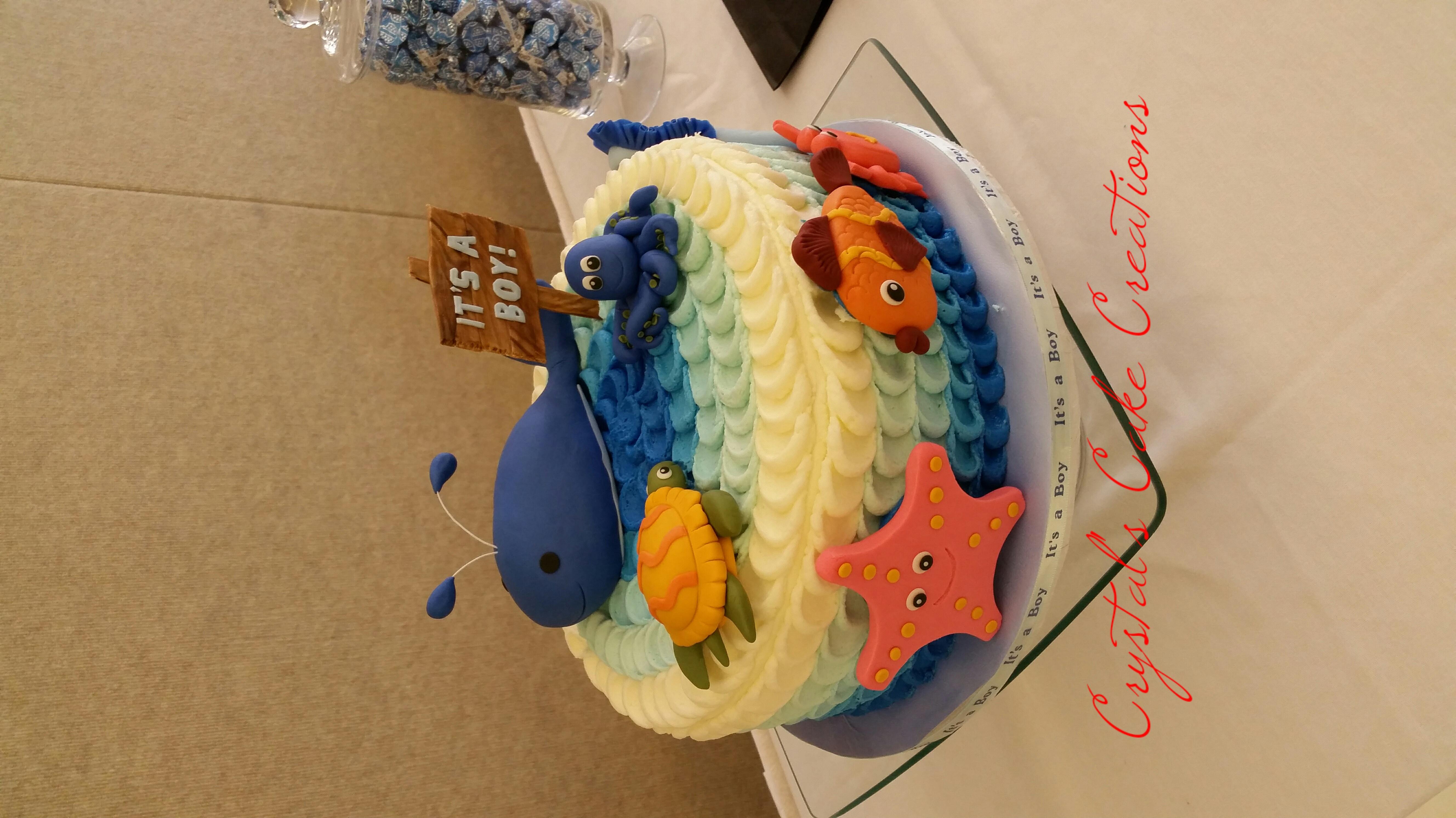 Under the sea baby shower cake