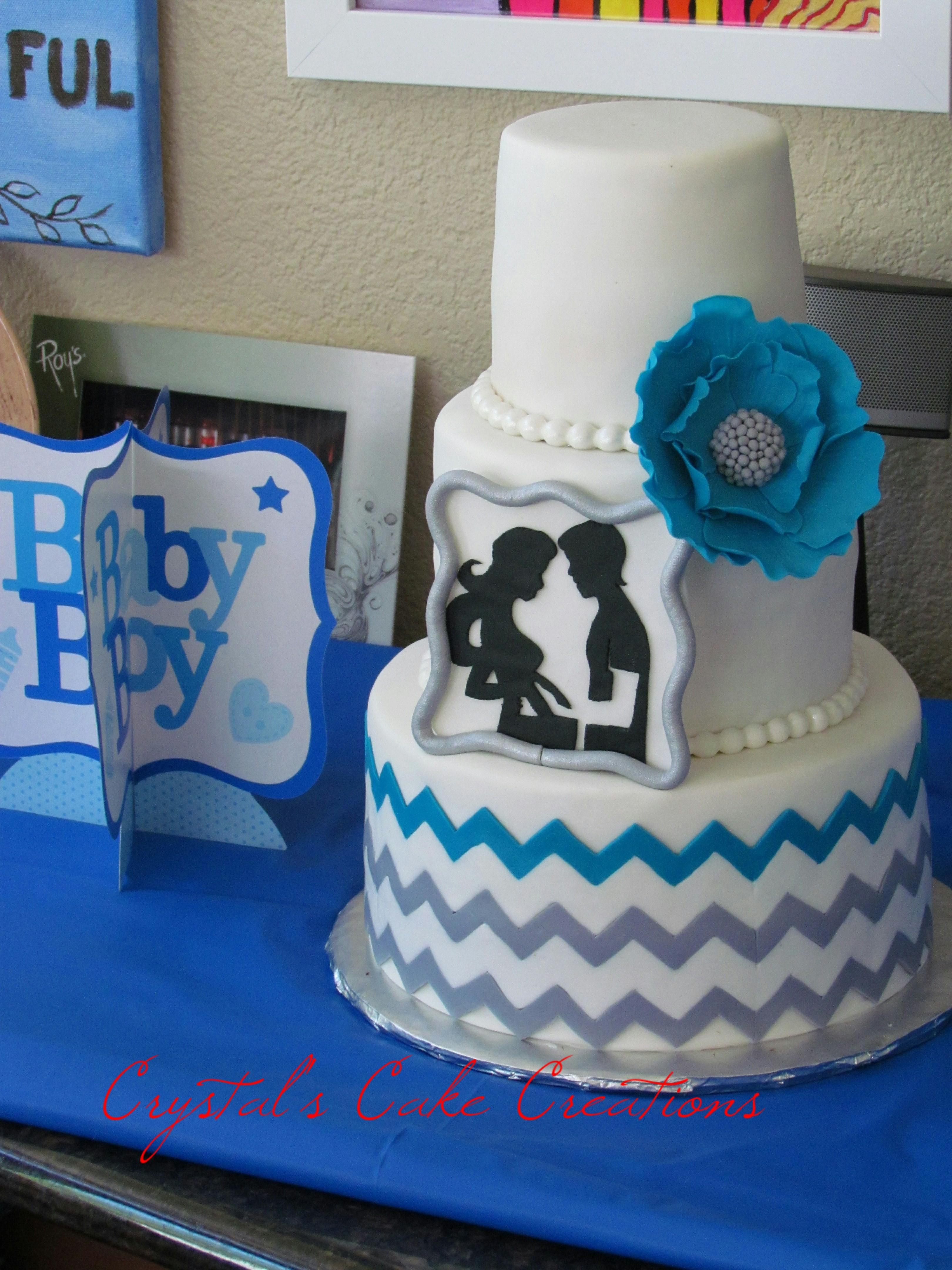 Silhoette baby shower cake