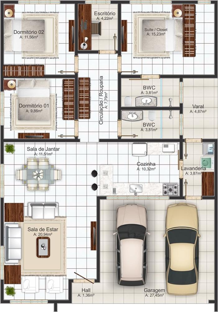 Preferência 10 Ideias de Plantas de Casas Para Construir | Projetos e Plantas  CM03