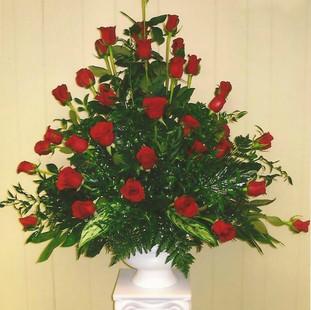 Red Rose Sympathy Arrangement